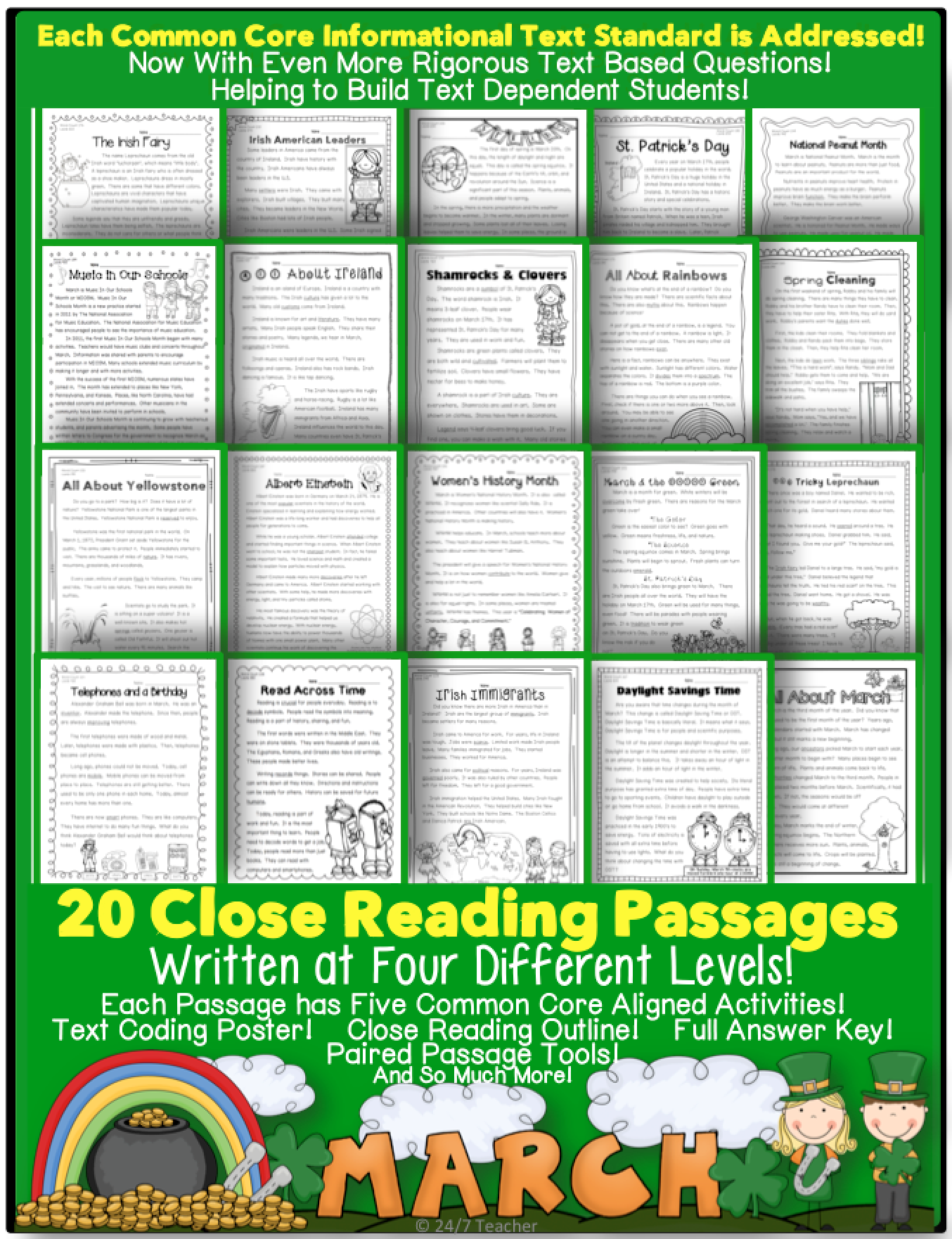 March Close Reading, Text Coding, Homework, and More