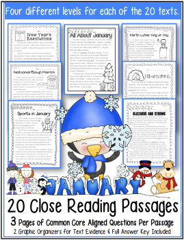 January Close Reading Text Evidence Reading Passages and Lessons for Martin Luther King Jr Day MLK New Year's Resolutions Hibernation Activities