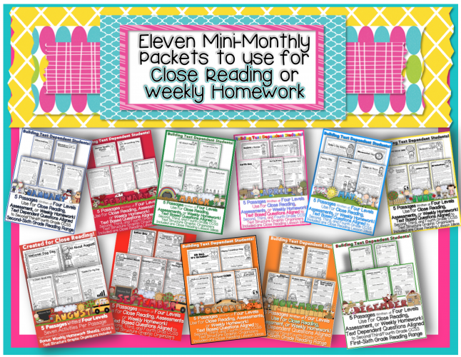 Mini Monthly Units W Close Reading Lesson Plan Ideas Informational