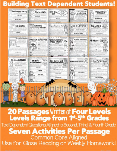 October Informational Text Passage Close Reading Halloween Bats Common Core Aligned Text Dependent Questions Evidence Activity CCSS ri.1.2.3.4.5.6.7.8.9.10