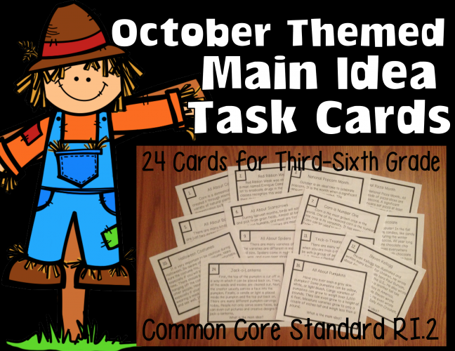 October Themed Task Cards Reading Informational text non-fiction ri.1.2.3.4.5.6.7.8.9.10 lesson plans main idea