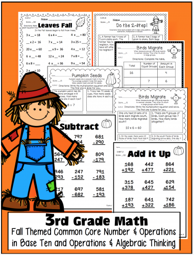 October Math Common Core State Standards Third Grade Image