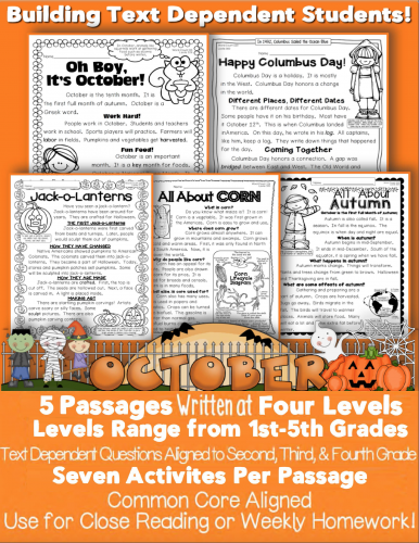 mini October Informational Text Passage Close Reading Halloween Bats Common Core Aligned Text Dependent Questions Evidence Activity CCSS ri.1.2.3.4.5.6.7.8.9.10